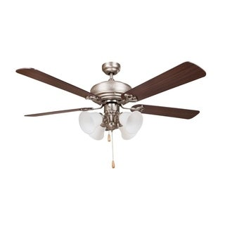 Revolution 5-blade Brushed Nickel Finish and Brownwood Grain Ceiling Fan, with Maple Finish Reversible Blades, and Light Kit
