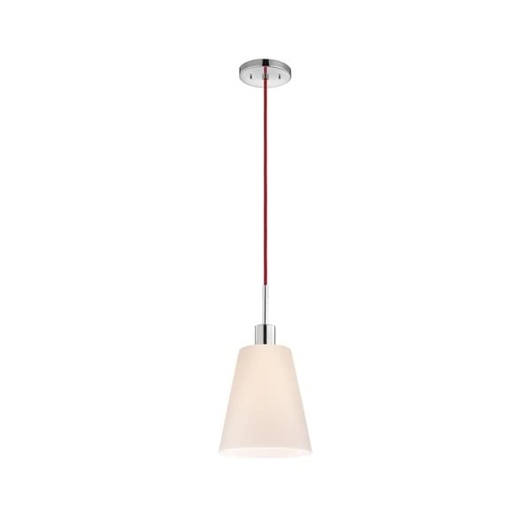 Sonneman Lighting Glass Pendants - Polished Chrome Tall Cone Pendant with Red Cord
