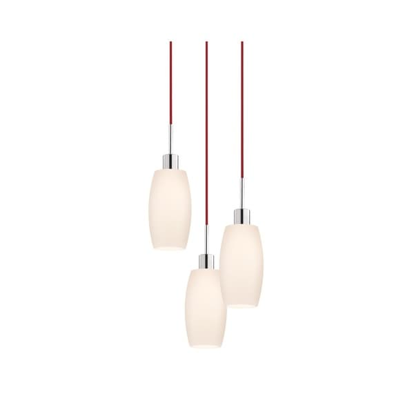 Sonneman Lighting Glass Pendants - 3-light Polished Chrome Barrel Cluster Pendant with Red Cords