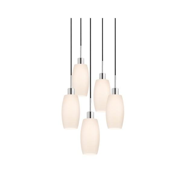 Sonneman Lighting Glass Pendants - 5-light Polished Chrome Barrel Cluster Pendant