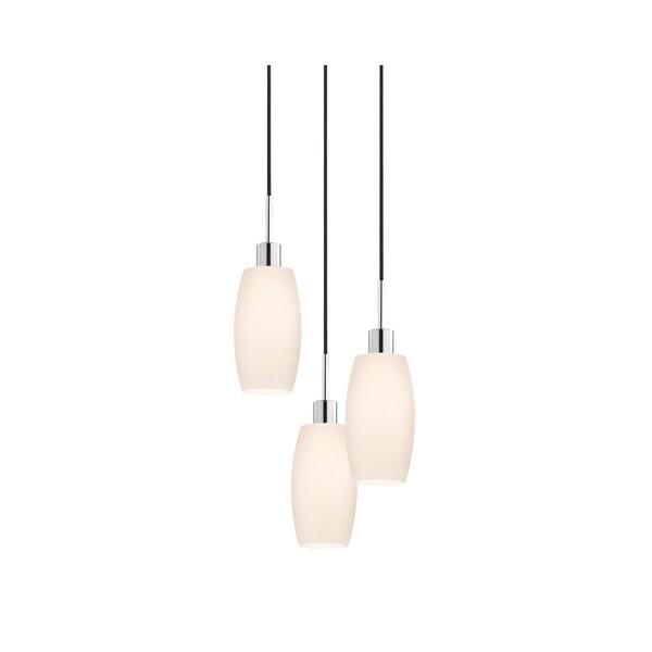 Sonneman Lighting Glass Pendants - 3-light Polished Chrome Barrel Cluster Pendant