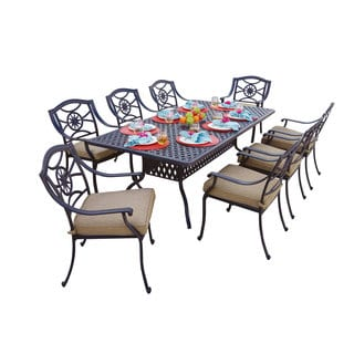 Darlee Ten Star Antique Bronze Cast Aluminum Rectangular 9-piece Dining Set