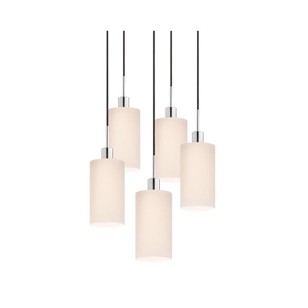 Sonneman Lighting Glass Pendants - 5-light Polished Chrome Cylinder Cluster Pendant