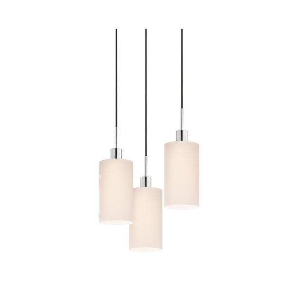 Sonneman Lighting Glass Pendants - 3-light Polished Chrome Cylinder Cluster Pendant