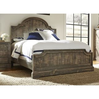 Grey MDF/Pine Complete Queen-sized Bed
