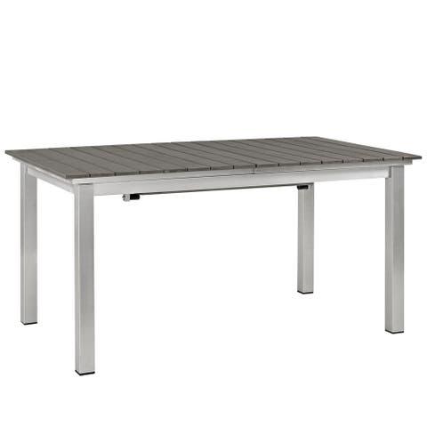 Shore Outdoor Patio Grey/Silver Wood Dining Table