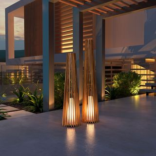 Zuo Cosima Yellow Wood Medium Outdoor Floor Lamp