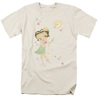 Boop/Hula Flowers Short Sleeve Adult T-Shirt 18/1 in Cream