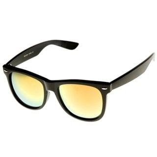 Mechaly Classic Wayfarer Unisex Black Sunglasses with Yellow Mirror Lenses