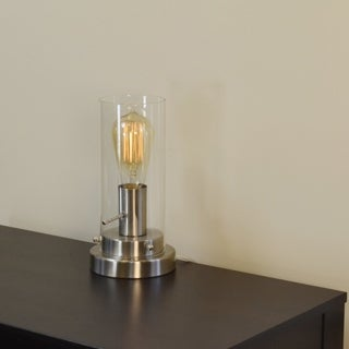 Light Accents Brushed Nickel Antique Style Table Lamp with Vintage Edison Bulb