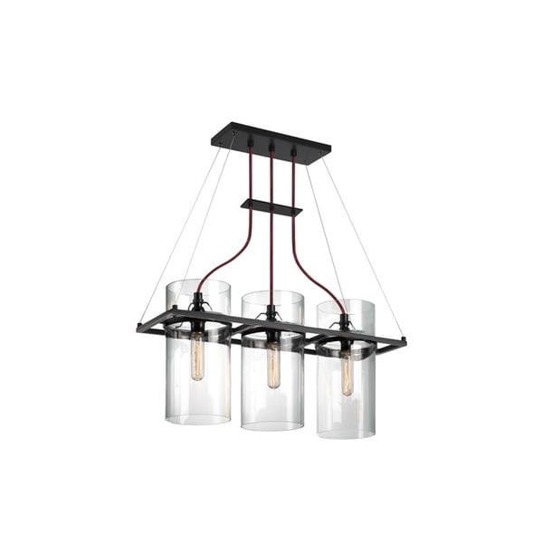 Sonneman Lighting Square Ring 3-light Satin Black Linear Pendant