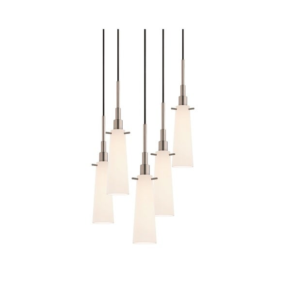 Sonneman Lighting Candela 5-light Satin Nickel Tapered Cluster Pendant
