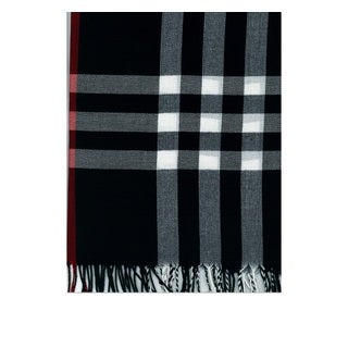 Black Plaid Polyester Scarf