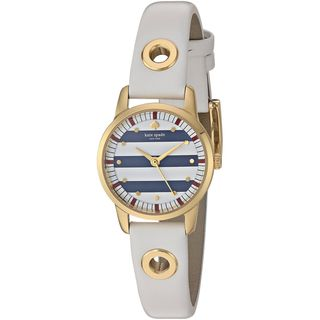 Kate Spade Women's KSW1136 'Mini Metro' Striped Dial White Leather Watch