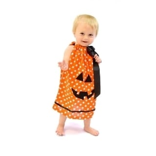 Kid's Cotton and Polyester Orange Dot Pumpkin Swing Dress