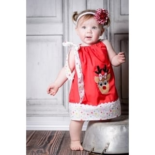 Girls' Red Cotton/Polyester Reindeer Dress