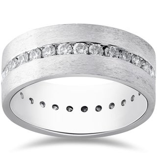 14k White Gold 1 1/2ct Diamond Satin Eternity Comfort Wedding 8mm Mens Band