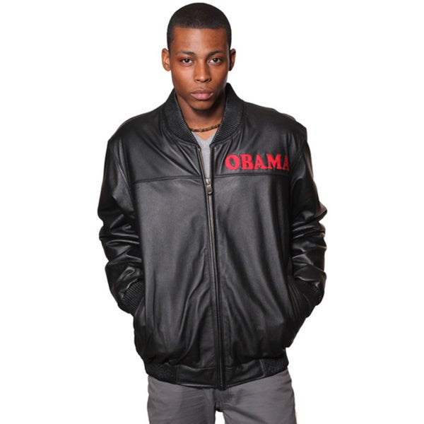 Wilda Black Leather Presidential Bomber Jacket