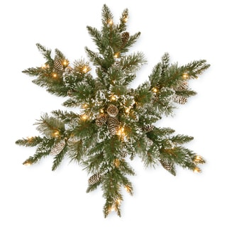 "National Tree Company 32"" Glittery Bristle Pine Snowflake with Battery Operated Warm White LED Lights"