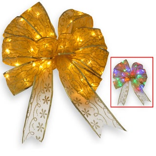 9-inch Gold Bow Tree Topper with Dual Color LED Lights