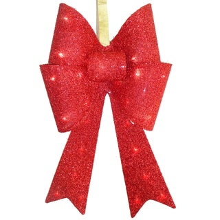 Pre-lit Red Fabric 20-inch Bow With Battery-operated LED Lights