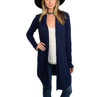 JED Women's Navy Ribbed Long-sleeve Knit Cardigan