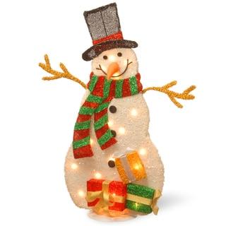 Tinsel/ Metal Base 31-inch Pre-lit Snowman