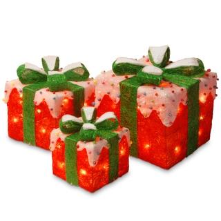 Red/Green Sisal Pre-lit Gift Box Assortment