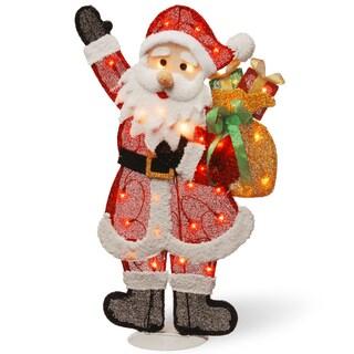 Pre-Lit 31-inch Tinsel Santa