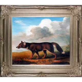 George Stubbs 'Portrait of a Large Dog' Hand Painted Framed Canvas Art
