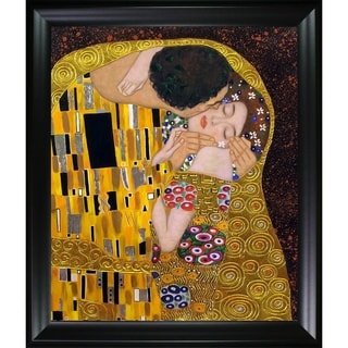 Gustav Klimt 'The Kiss' (Luxury Line) Hand Painted Framed Canvas Art