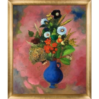 Odilon Redon 'Flowers, 1905' Hand Painted Framed Canvas Art