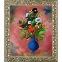 Odilon Redon 'Flowers, 1905' Hand Painted Framed Canvas Art