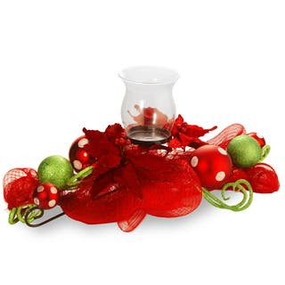 30 inch decorative collection red ribbon single candle holder - Christmas Candle Holders Decorations