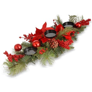 Evergreen/Bristles/Red Poinsettas/Pinecones/Metal 28-inch Christmas Candleholder Centerpiece