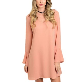 JED Women's Pink Polyester Woven Bell Sleeve Blush Dress with Lace Up Shoulder Detail