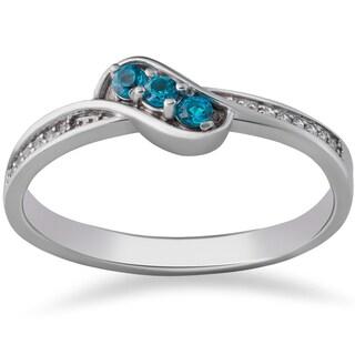 14k White Gold 1/6 ct TDW Blue & White Diamond 3-Stone Anniversary Ring (I-J, I2-I3)
