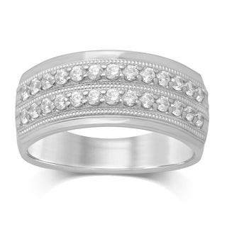 Unending Love 10k White Gold 1/2ct TDW 2 Row Diamond Milgrain Wedding Band (I-J I2-I3)