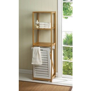 Sleek Bathroom Spa Tower With Louvered Hamper - Brown