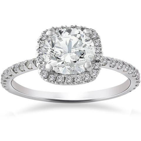 14k White Gold 2ct TDW Cushion Halo Diamond Engagement Ring Clarity Enhanced
