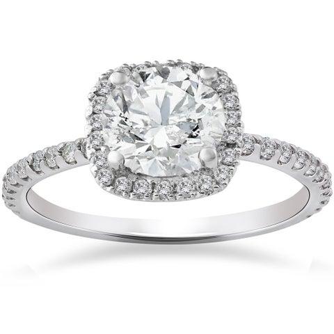 14k White Gold 2ct TDW Cushion Halo Diamond Engagement Ring