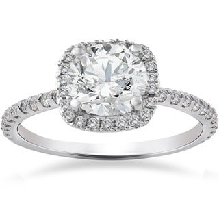 14k White Gold 2ct TDW Cushion Halo Diamond Engagement Ring (G-H,SI1-SI2)