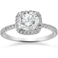 14k White Gold 2ct TDW Cushion Halo Diamond Engagement Ring