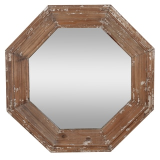 Brown Glass Distressed Hexagon Paisley Wall Mirror