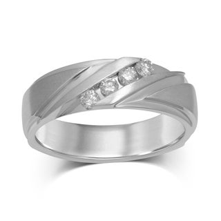 Unending Love 10K White Gold and Diamond Satin-finished Band