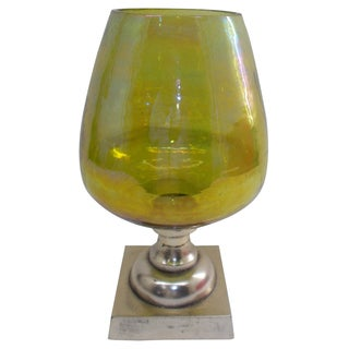 Laurine Green Luster and Italian Pewter Tall Stemmed Candle Holder