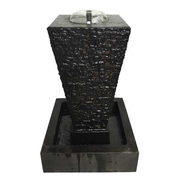 Maya Black Stone and Glass Indoor Table Fountain