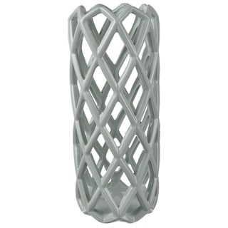 Grey Ceramic 5.5-inch x 13-inch Lattice-style Candle Holder