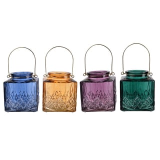 Glass and Iron Candle Holders (Pack of 4)