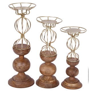 Leonora Goldtone Wire and Wood 3-piece Candle Holder Set